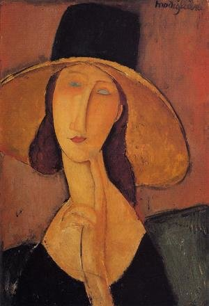 Expressionism painting reproductions: Portrait Of Woman In Hat   Jeanne Hebuterne In Large Hat