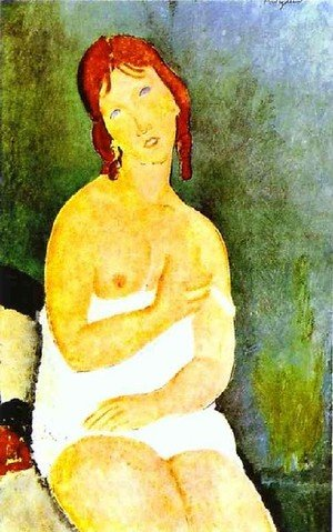 Expressionism painting reproductions: Red Haired Young Woman In Chemise