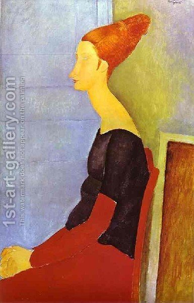 Portrait Of Jeanne Hebuterne In Profile by Amedeo Modigliani - Reproduction Oil Painting