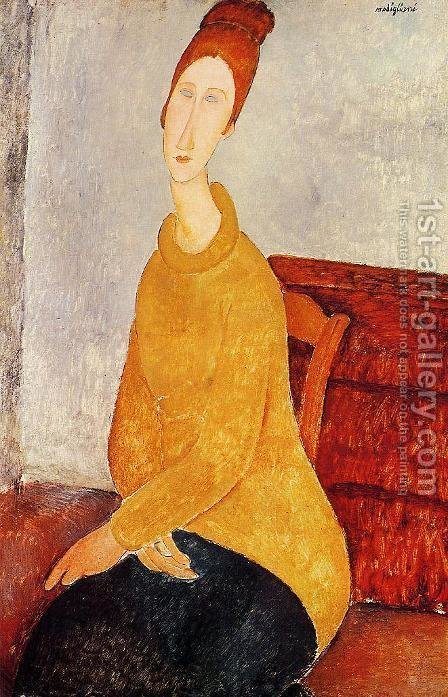 Jeanne Hebuterne In A Yellow Sweater by Amedeo Modigliani - Reproduction Oil Painting
