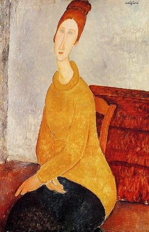 Expressionism painting reproductions: Jeanne Hebuterne In A Yellow Sweater