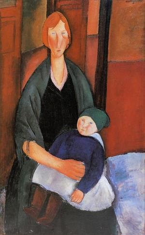 Expressionism painting reproductions: Seated Woman With Child