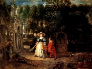 Reproduction oil paintings - Rubens - Rubens In His Garden With Helena Fourment