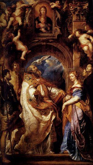 Reproduction oil paintings - Rubens - Saint Gregory With Saints Domitilla  Maurus And Papianus