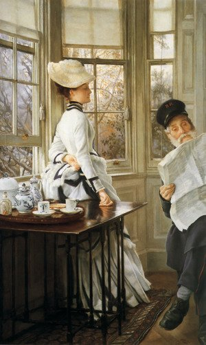 Reproduction oil paintings - James Jacques Joseph Tissot - Reading The News