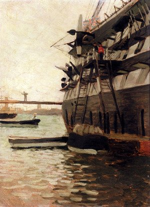 Reproduction oil paintings - James Jacques Joseph Tissot - The Hull Of A Battle Ship