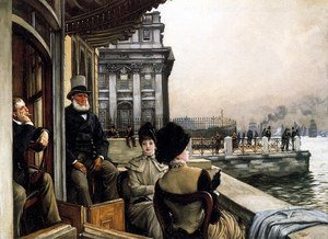 Reproduction oil paintings - James Jacques Joseph Tissot - The Terrace Of The Trafalgar Tavern Greenwich London