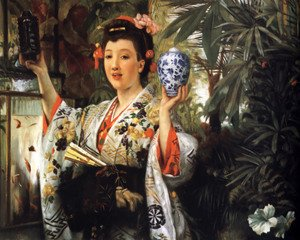 Reproduction oil paintings - James Jacques Joseph Tissot - Young Lady Holding Japanese Objects