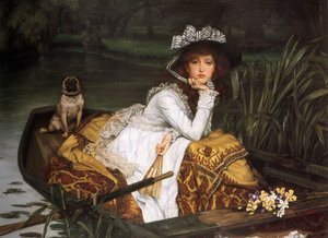 Famous paintings of Ships & Boats: Young Lady In A Boat