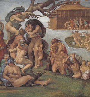 Reproduction oil paintings - Michelangelo - Ceiling Of The Sistine Chapel  Genesis Noah 7 9  The Flood Left View