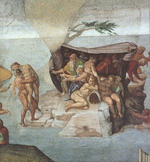 Reproduction oil paintings - Michelangelo - Ceiling Of The Sistine Chapel  Genesis Noah 7 9  The Flood Right View