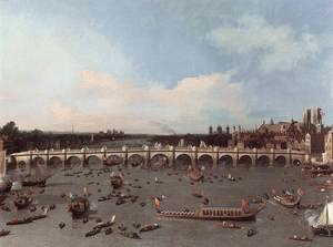 Rococo painting reproductions: London Westminster Bridge From The North On Lord Mayors Day