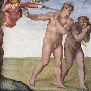 Reproduction oil paintings - Michelangelo - Expulsion from Garden of Eden 1509-10