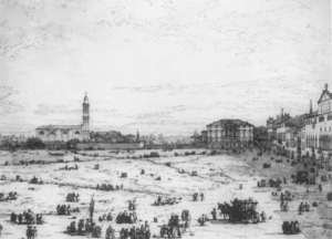 Rococo painting reproductions: Padua The Prato Della Valle With Santa Giustinia And The Church Of Misericordia   2