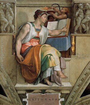 Reproduction oil paintings - Michelangelo - Ceiling Of The Sistine Chapel  Sybils  Erithraea