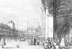 Rococo painting reproductions: Piazza San Marco   Looking East From The South West Corner Ii