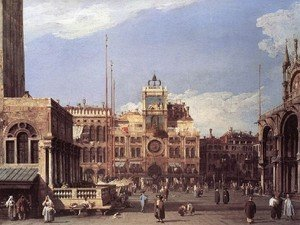Rococo painting reproductions: Piazza San Marco   The Clocktower 1729