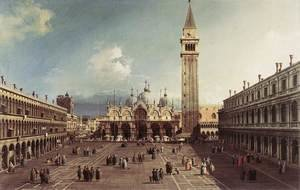 Famous paintings of Squares and Piazzas: Piazza San Marco With The Basilica