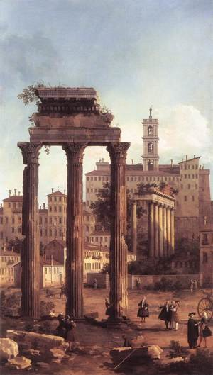 Rococo painting reproductions: Rome   Ruins Of The Forum Looking Towards The Capitol