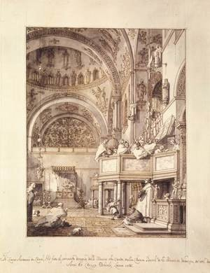 Rococo painting reproductions: San Marco   The Crossing And North Transept With Musicians Singing