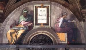 Reproduction oil paintings - Michelangelo - Lunette XI   Jesse  David And Solomon  Sistine Chapel