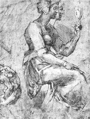 Reproduction oil paintings - Michelangelo - Study of a Seated Woman