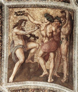 Reproduction oil paintings - Raphael - The Stanza Della Segnatura Ceiling  Apollo And Marsyas