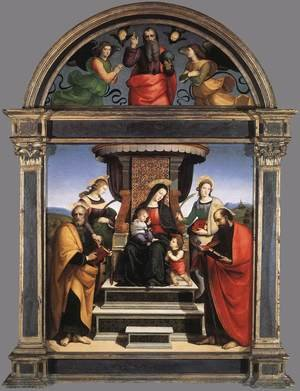 Reproduction oil paintings - Raphael - Madonna And Child Enthroned With Saints