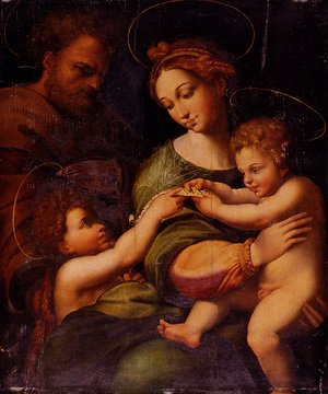 Famous paintings of The Holy Family: Holy Family With Saint John The Baptist
