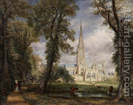 John Constable: Salisbury Cathedral from the Bishop's Grounds c. 1825 - reproduction oil painting