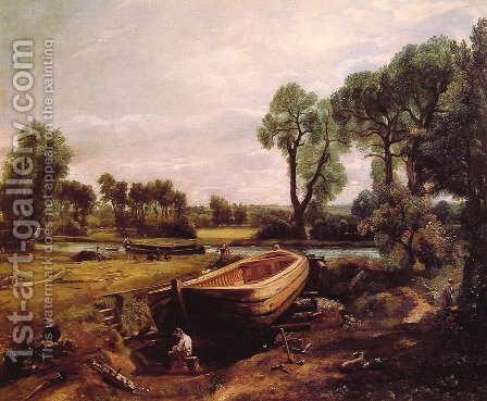 John Constable: Boat-Building on the Stour 1814-15 - reproduction oil painting