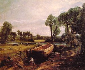 Reproduction oil paintings - John Constable - Boat-Building on the Stour 1814-15