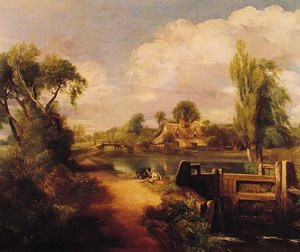 Reproduction oil paintings - John Constable - Landscape With Boys Fishing
