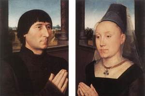 Famous paintings of Couples: Portraits of Willem Moreel and His Wife c. 1482