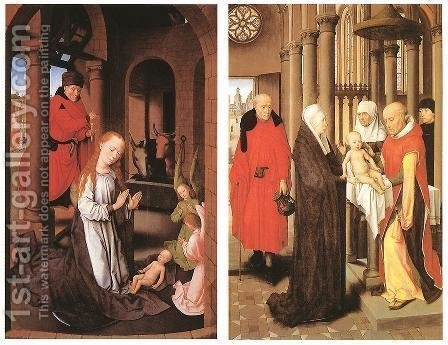 Wings of a Triptych c. 1470 by Hans Memling - Reproduction Oil Painting