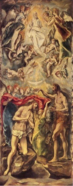 Mannerism painting reproductions: Baptism of Christ 1596-1600