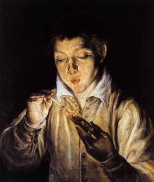Mannerism painting reproductions: A Boy Blowing on an Ember to Light a Candle (Soplón) 1570-72