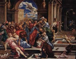 Mannerism painting reproductions: Christ Driving The Traders From The Temple