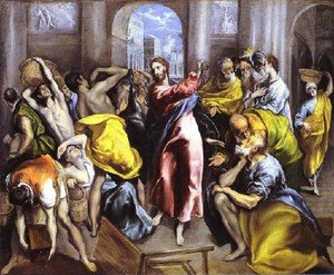 Mannerism painting reproductions: Christ Driving The Traders From The Temple Ii