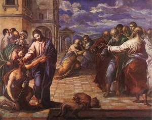 Mannerism painting reproductions: Christ Healing the Blind c. 1567