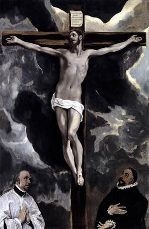 Mannerism painting reproductions: Christ on the Cross Adored by Two Donors c. 1580