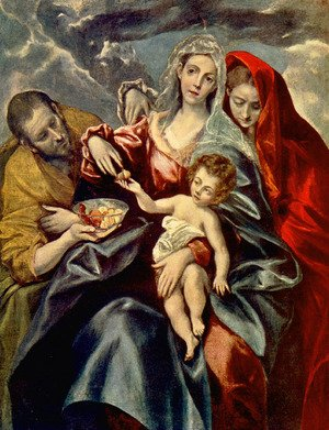 Mannerism painting reproductions: The Holy Family with St Mary Magdalen 1595-1600