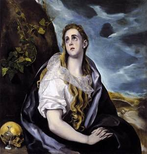 Mannerism painting reproductions: Mary Magdalen in Penitence 1578-80