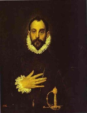 Mannerism painting reproductions: Portrait Of A Nobleman With His Hand On His Chest