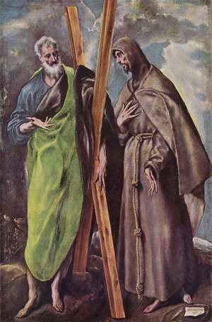 Mannerism painting reproductions: St Andrew and St Francis 1595