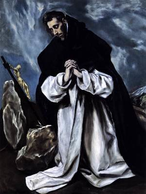Mannerism painting reproductions: St Dominic in Prayer 1586-90