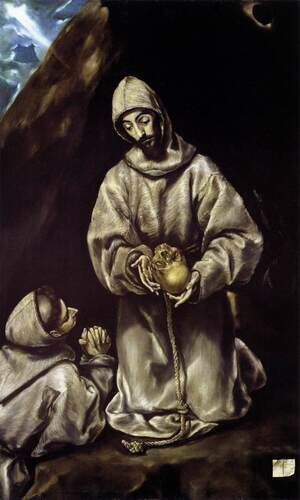 Mannerism painting reproductions: St Francis and Brother Leo Meditating on Death 1600-02