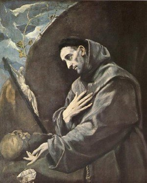 Mannerism painting reproductions: St  Francis In Meditation