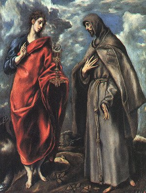 Mannerism painting reproductions: Saints John the Evangelist and Francis, 1600