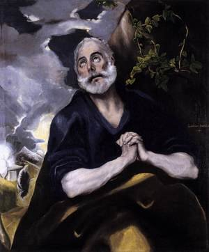 Mannerism painting reproductions: St Peter in Penitence 1580s